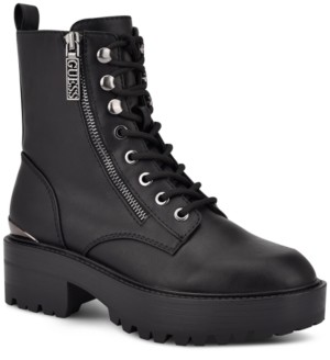 GUESS Women's Fearne Lug Sole Lace-Up Booties Women's Shoes