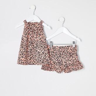River Island Mini girls Pink leopard print trapeze outfit