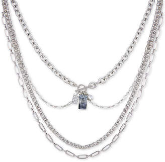 "GUESS Silver-Tone Crystal & Stone Charm Multi-Row Statement Necklace, 15"" + 2"" extender"