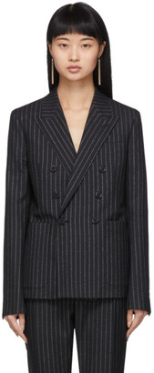 Saint Laurent Black and Silver Lurex Pinstripes Blazer
