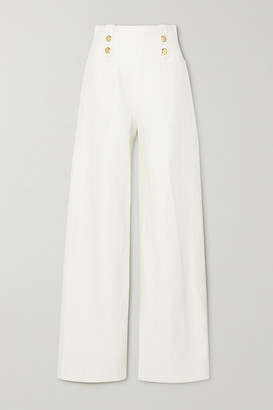 ARTCLUB Vita Button-embellished Cotton And Linen-blend Wide-leg Pants - Ivory
