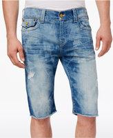 "True Religion Men's Ricky Straight-Fit Destructed Denim 13"" Stretch Shorts"
