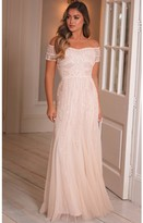Sistaglam CALLIE BLUSH OFF THE SHOULDER ALL OVER BEADED MAXI DRESS