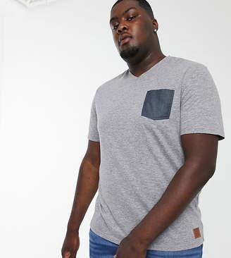 Tom Tailor Plus v-neck t-shirt with contrast pocket-Blue