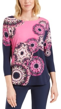 JM Collection Printed Boat-Neck Top, Created for Macy's