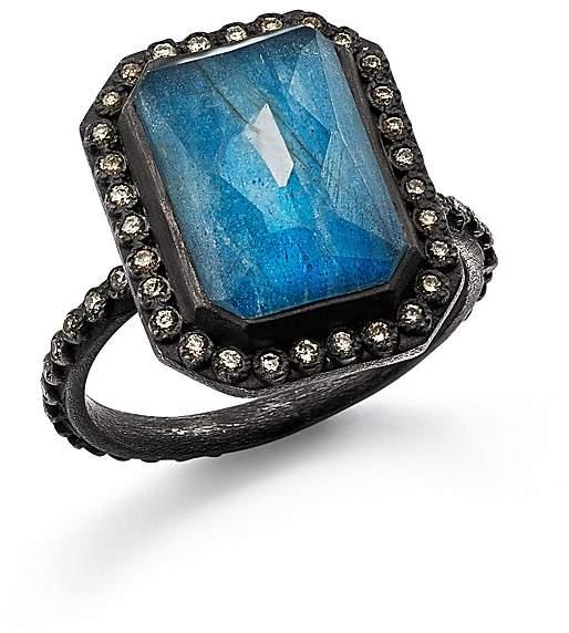 Armenta Blackened Sterling Silver Old World Blue Quartz, Labradorite, and White Quartz Triplet and Champagne Diamond Ring