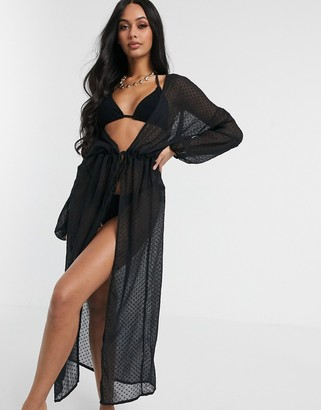 South Beach Dobbie Spot Maxi Kimono-Black