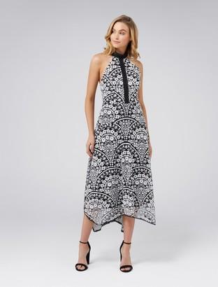 Forever New Karli Embroidered Lace Dress - Black White - 6