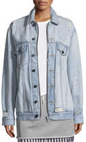 Alexander Wang Daze Zip Button-Front Distressed Denim Jacket
