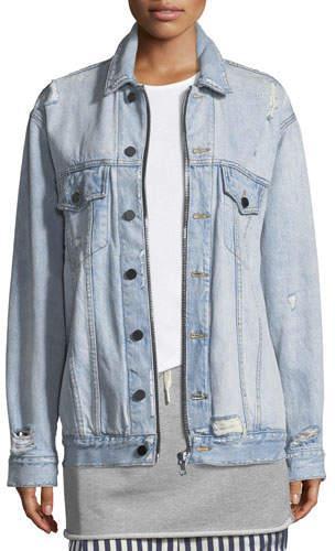 Alexander Wang Daze Zip Button-Front Distressed Denim Jacket