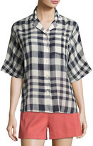 Theory Ralfinn Plaid Cotton Top, Blue
