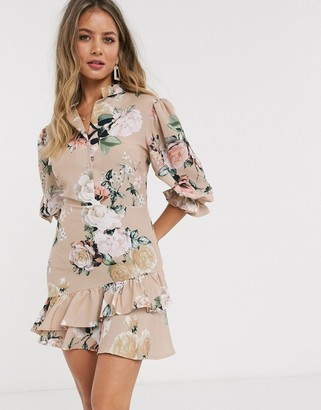 John Zack mini ruffle tea dress in beige floral
