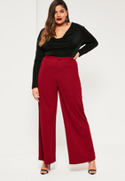 Missguided Plus Size Red Wide Leg Trousers