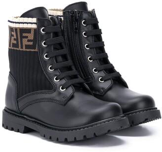 Fendi Kids jacquard FF motif booties