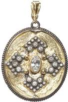 Armenta 18K Yellow Gold and Blackened Sterling Silver Old World Midnight Diamond and White Sapphire Oval Pendant