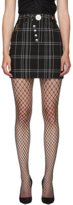 Alexander Wang Black Check Snap Front Miniskirt