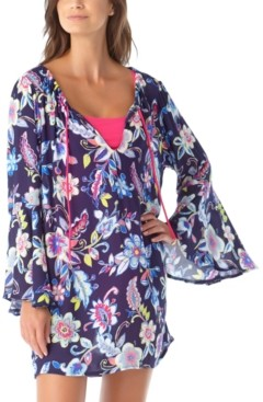 Anne Cole Holiday Paisley Bell-Sleeve Tunic Swim Cover-Up Women's Swimsuit