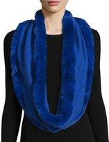La Fiorentina Fur-Trim Cashmere & Wool Infinity Scarf, Cobalt