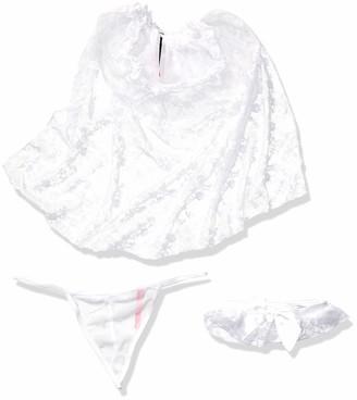 Seven Til Midnight SEVEN 'TIL MIDNIGHT Women's Bridal Veil Satin Thong and Lace Garter Set