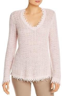 Nic+Zoe Fringe Trim V-Neck Sweater