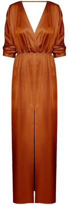 Cecilia Oversized Kimono Sleeve Maxi Dress In Bronze