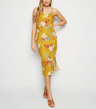New Look Tropical Print Linen Blend Midi Dress