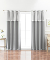 Best Home Fashion Gray Blackout Curtain Panel & Lace Valance Set