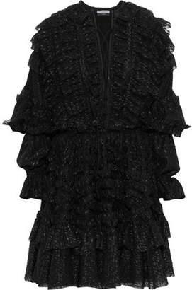Faith Connexion Lace-up Ruffle-trimmed Metallic Fil Coupe Chiffon Mini Dress
