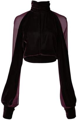 Cushnie sheer panel cropped blouse