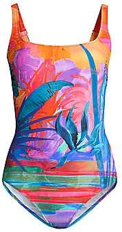 Gottex Swim Women's Squareneck Tropical Print One-Piece
