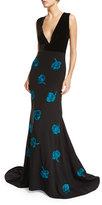 Sachin + Babi Antoinette Sleeveless Crepe & Floral Satin Gown, Onyx/Blue Topaz