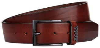 BOSS Leather Logo Trim Belt
