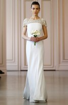 Oscar de la Renta Women's Embellished Illusion Neck Crepe Satin Column Gown