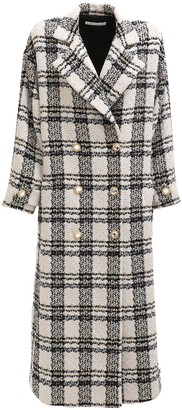 Alessandra Rich Oversize Check Wool Blend Long Coat