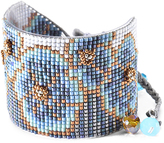 Mishky Denim & Natural Floral Aster Bead Cuff