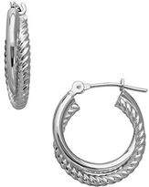 Lord & Taylor 14K White Gold Interlocked Spiral Tube Hoop Earrings