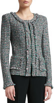 St. John Donegal Plaid Tweed Knit Jacket with Patch Pockets and Fringe