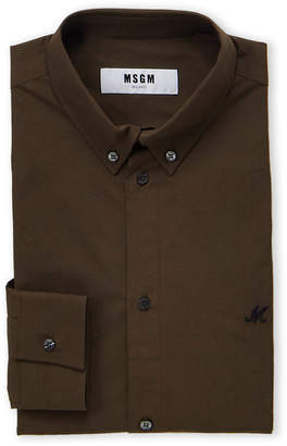 MSGM Embroidered Chest Solid Dress Shirt