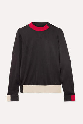 Akris Color-block Silk Turtleneck Sweater - Black