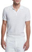 Michael Kors Textured Cotton/Linen Polo Shirt, White