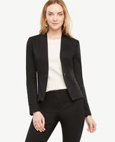 Ann Taylor Cotton Sateen Collarless Jacket