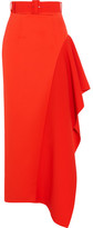 SOLACE London Kaya Asymmetric Belted Charmeuse Maxi Skirt - Tomato red