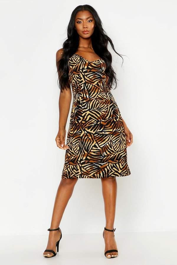 boohoo Jungle Print Cami Wrap Midi Dress
