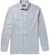 Dunhill Slim-Fit Cutaway-Collar Checked Brushed-Cotton Shirt
