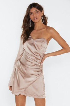 Nasty Gal Womens Dancing On My Own One Shoulder Satin Dress - Champagne