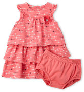 Petit Lem Newborn/Infant Girls) Two-Piece Pink Floral Dress & Bloomers Set