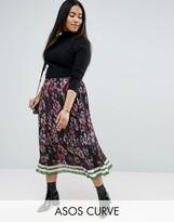 Asos Pleated Midi Border Print Skirt
