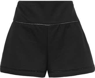 RED Valentino Lattice-trimmed Cotton-blend Ponte Shorts
