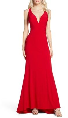 Mac Duggal V-Neck Jersey Gown with Train