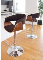 Lumisource Vintage Mod Mid-century Modern Wood Adjustable Barstool